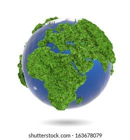 3d illustration, green herb  on blue globe