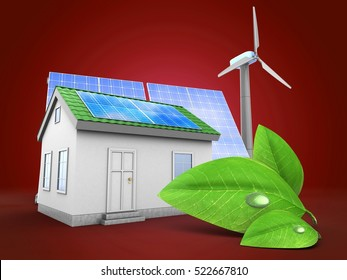 3d illustration of green house over red background with solar and wind energy and green leaf
