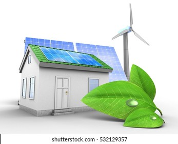 3d illustration of green house over white background with solar and wind energy and green leaf