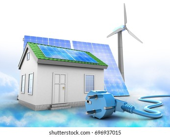 3d illustration of green house over clouds background with solar and wind energy and power cable
