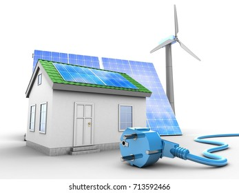 3d illustration of green house over white background with solar and wind energy and power cable