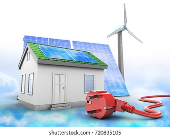 3d illustration of green house over clouds background with solar and wind energy and power cord
