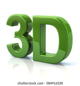 3d illustration of green 3D word isolated on white background