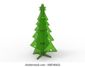 3d illustration of green xmas pine tree. isolated on white background