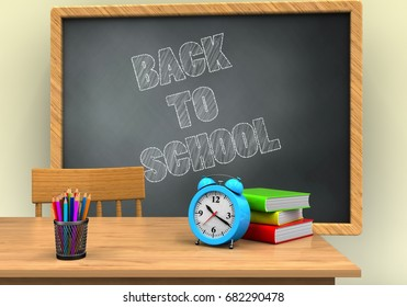 3d illustration of grey chalkboard with back to school text and alarm clock