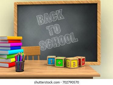 3d illustration of grey chalkboard with back to school text and math cubes