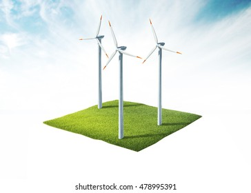 3d illustration of ground with wind turbine isolated on white
