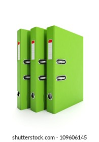 3d illustration: A group of folders, binders with documents