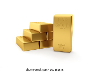 3d illustration: A group of gold bars