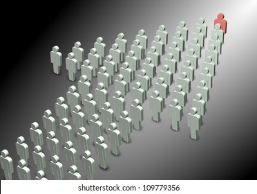 a 3D illustration of a group of people forming an arrow shape / leadership