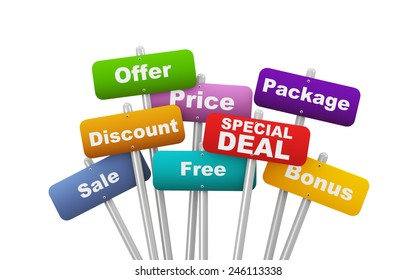 3d illustration of group of placard presenting concept of special deal