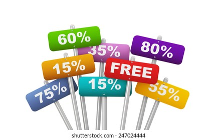 3d illustration of group of placard presenting concept of various special discount percentage deduction