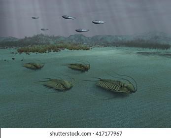 3D Illustration of a group of trilobites