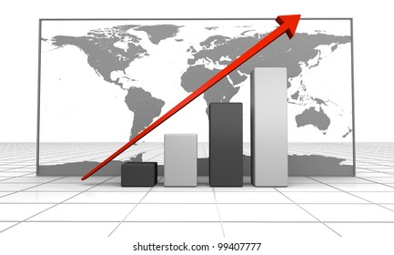 3D illustration of growth concept with linear trend line and map of world in the background. World map provided by visibleearth.nasa.gov