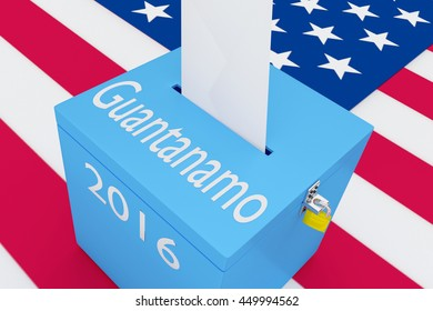 "3D illustration of ""Guantanamo"", ""2016"" scripts and on ballot box, with US flag as a background."