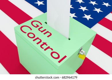 """3D illustration of """"Gun Control"""" script on a ballot box, with US flag as a background."""