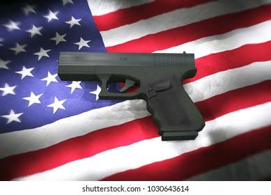 3d Illustration of Gun Laws USA concept. Gun Pistol on American Flag