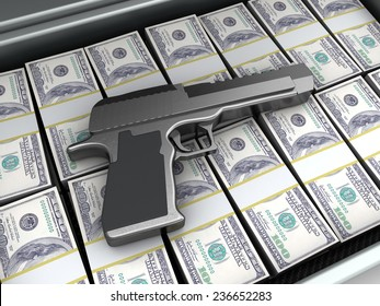 3d illustration of gun and money, crime concept