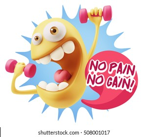3d Illustration GYM Fitness Character Emoticon Expressionsaying No pain no gain with Colorful Speech Bubble.