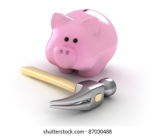 3D Illustration of a Hammer and a Piggy Bank