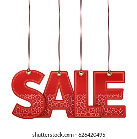 3D illustration of hanging SALE text with Arabesque Pattern