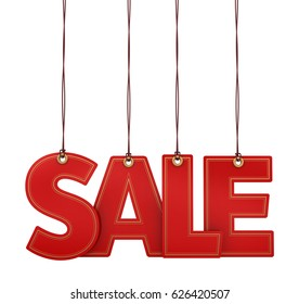 3D illustration of hanging SALE text with Golden Outlines