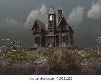 3D illustration of a haunted house