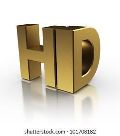 3d illustration of hd symbol, over white background