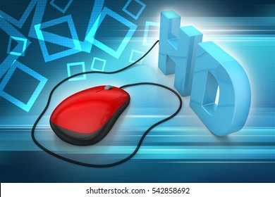 3D illustration of Hd text connected with computer mouse