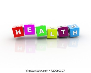 3d illustration Health colorful buzzword