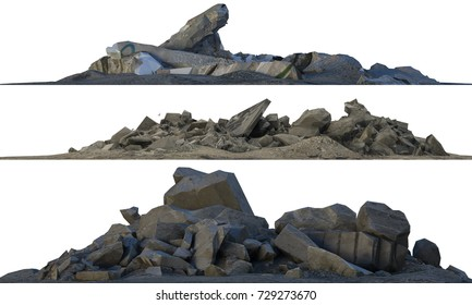 3D illustration heaps of rubble and debris isolated on white.