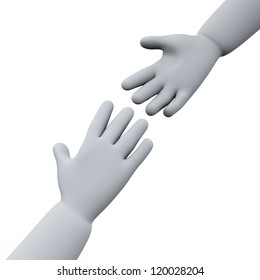 3d illustration of helping hands.
