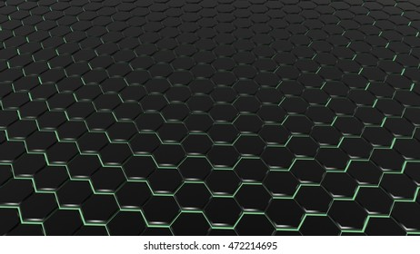 3D illustration hexagon