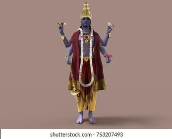 3d illustration of Hindu God Vishnu