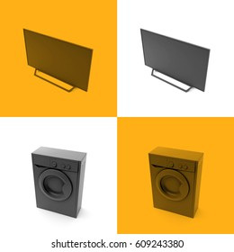 3D illustration of home appliances, in gray on a colored backgr
