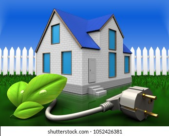 3d illustration of home with eco power cable over grass and fence background