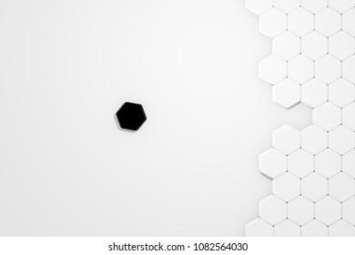 3d illustration Honeycomb structure with a unsuitable Piece