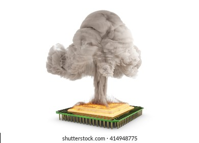 3D illustration - hot CPU