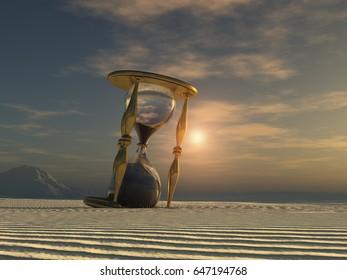 3d illustration of an hourglass in the desert