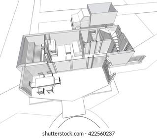 3d illustration, house building sketch