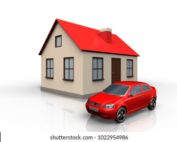 3d illustration of house with car over white background