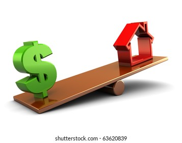 3d illustration of house and dollar sign on board scale, over white background