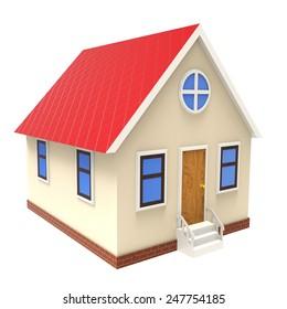 3d illustration of house over white background