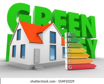 3d illustration of house over white background with energy and efficient ranks