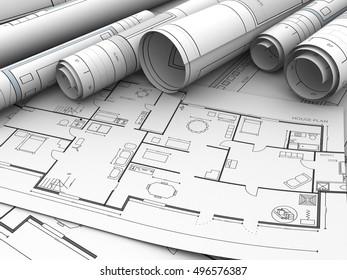 3d illustration of house plan rolled blueprints