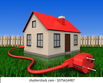 3d illustration of house with power cable over lawn and fence background