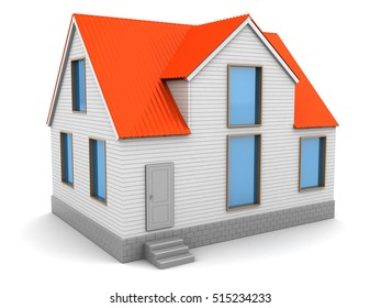 3d illustration of house with red roof and white walls