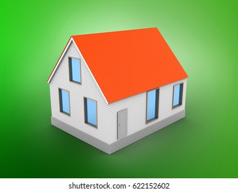 3d illustration of house red roof over green background with