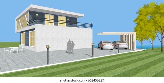 3d illustration, house sketch