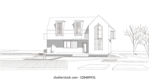 3d illustration, house sketch, facade